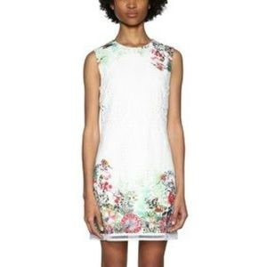 Desigual Margarita Floral Eyelet Mini Dress White